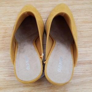 813298bc981 Old Navy Shoes - 🆕️Mustard Yellow Faux Suede Heeled Mule Booties